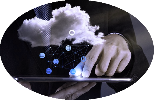 Man holding tablet with cloud