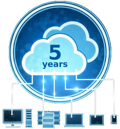 Cloud in circle, connected with cloud services, 5 years in service