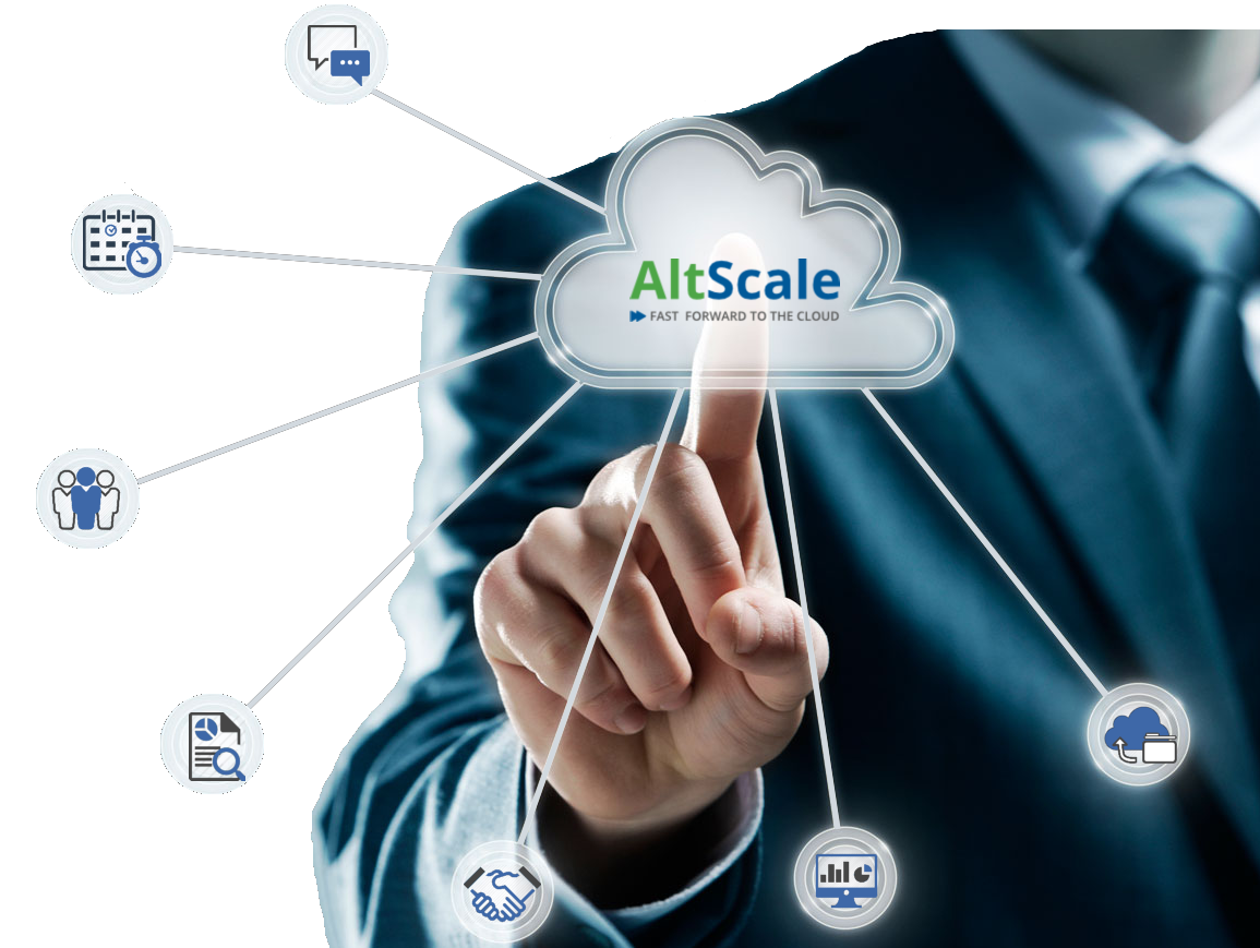 Man touching Altscale cloud services and saas.
