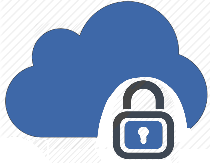 Blue cloud with a lock in front of it, showing security in private cloud.