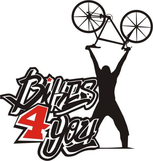 Logo of Bikers4You, a man holding a bike upwards with his hands.